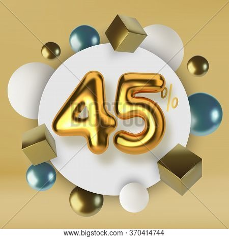 45 Off Discount Promotion Sale Made Of 3d Gold Text. Number In The Form Of Golden Balloons.realistic