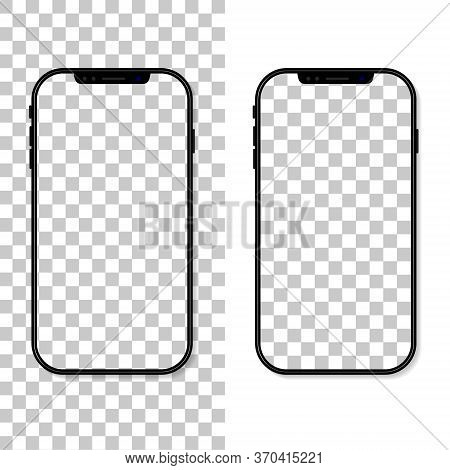 Phone Screen. Frame And Template Of Cellphone Isolated On Transparent Background. Smartphone Mockup.