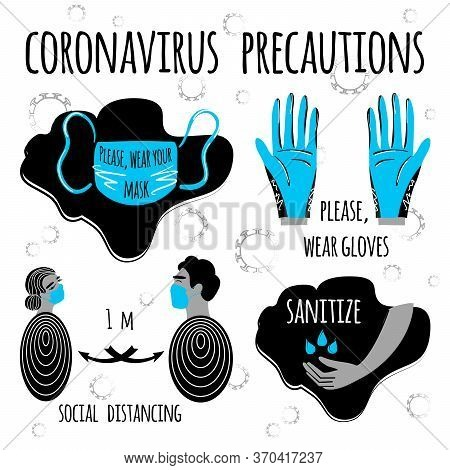 Coronavirus Precaution Tips. Stock Vector  Art Illustration Set Of Corona Virus Covid-19. Safety Mea
