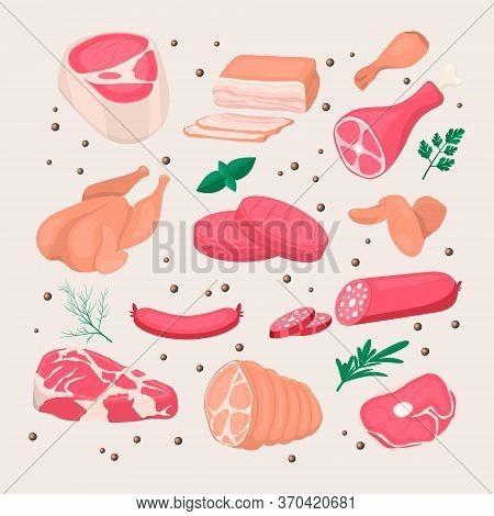 Vector Fresh Pieces Of Raw Meat, Chicken, Sausage, Rib Eye, Tenderloin Fillet, Ham, Bacon, Greens Ic