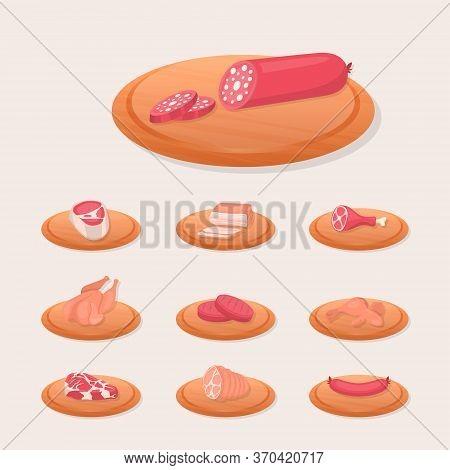 Vector Fresh Pieces Of Raw Meat, Chicken, Sausage, Rib Eye, Tenderloin Fillet, Ham, Bacon On Plate,