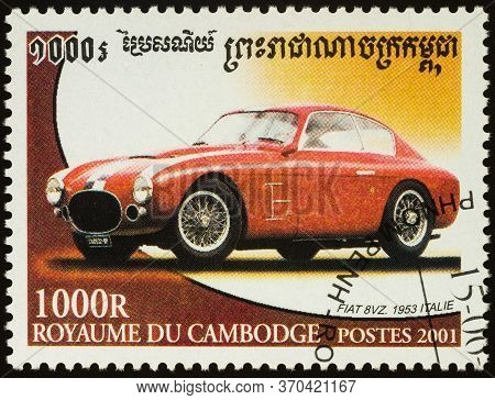 Moscow, Russia - June 08, 2020: Stamp Printed In Cambodia Shows Old Italian Car Fiat 8vz (1953), Ser