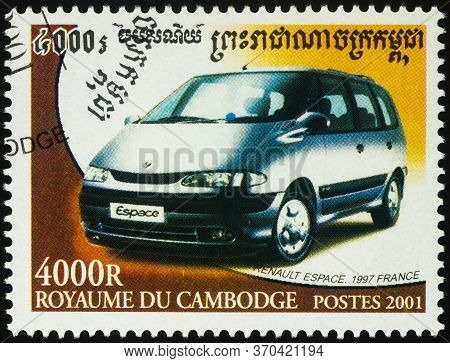 Moscow, Russia - June 08, 2020: Stamp Printed In Cambodia Shows French Minivan Renault Espace (1997)