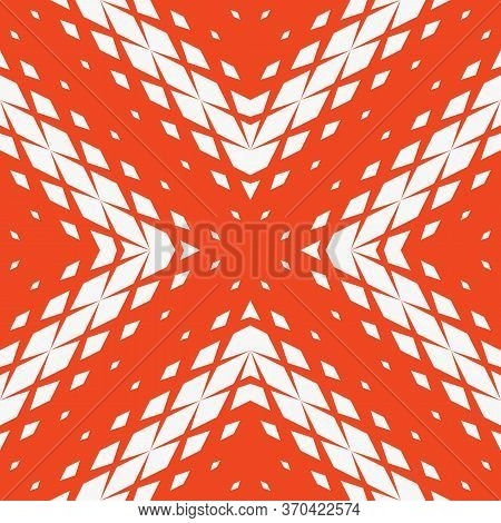 Vector Geometric Seamless Pattern With Fading Rhombuses, Diamonds, Diagonal Grid. Halftone Gradient