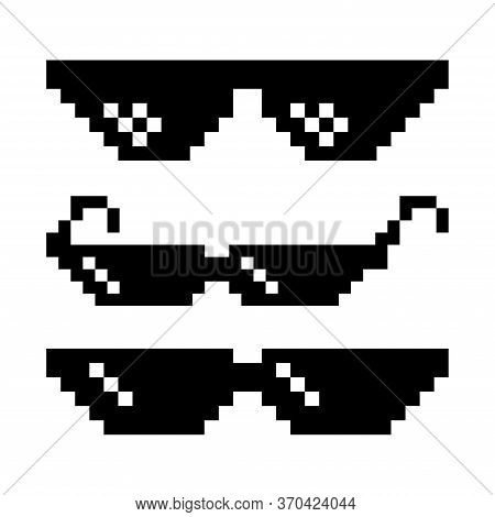 Pixel Glasses. Sun Glasses Pixel Art Icon On White Background. Pixel Glasses Gangster, Gangster Blac