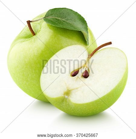 Green Apple Fruit With Green Apple Half And Leaf Isolated On White Background. Green Apples With Cli