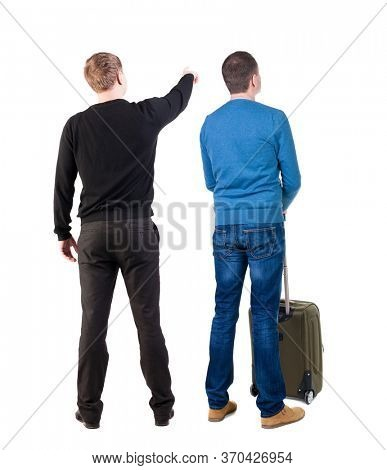 Back view of two man in sweater with suitcas. Back view. Rear view people collection. backside view of person. Isolated over white background.