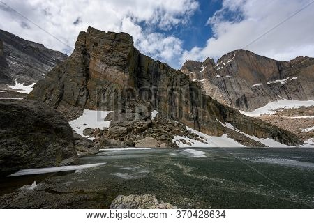 Partially Frozen Chasm Lake In Early Summer Below Long's Peak