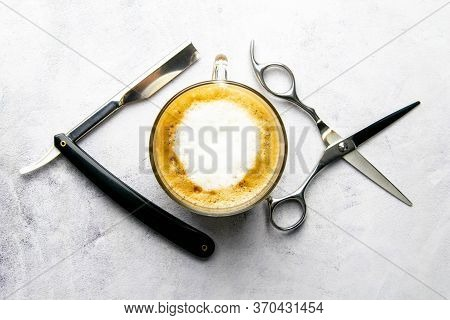Mens Grooming Tools. Barber Equipment And Supplies Dangerous Razor, Coffe And Scissors On Marable Ba