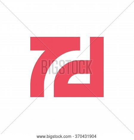 Initial Letter Td Or 7d Logo Template, Red Color Typography Symbol, Square Shape Monogram - Vector