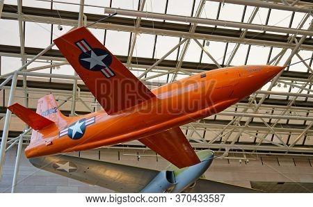 Washington, D.C., USA - November 12, 2017: Bell X-1 experimental rocket engine-powered aircraft, the first crewed airplane to exceed the speed of sound in level flight, is on display in the Smithsonian National Air and Space Museum.