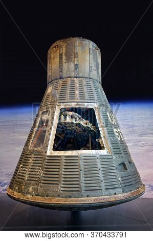 Washington, D.C., USA - November 12, 2017: Historic Mercury capsule Friendship 7, in which John H. Glenn Jr. became the first American to orbit the Earth, is on display in the Smithsonian National Air and Space Museum.