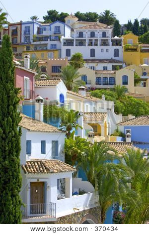 Colorful Spanish Pueblo On Hillside