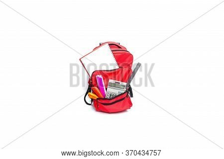 Red , Purple  Backpack With School Supplies, Isolated On White Background.