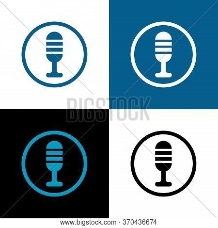 Microphone Icon Vector, Mic Symbol Design, Simple Mike Illustration