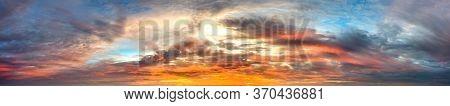 Panorama twilight Beauty Evening colorful clouds - sunlight with dramatic sky.Sunlight with dramatic