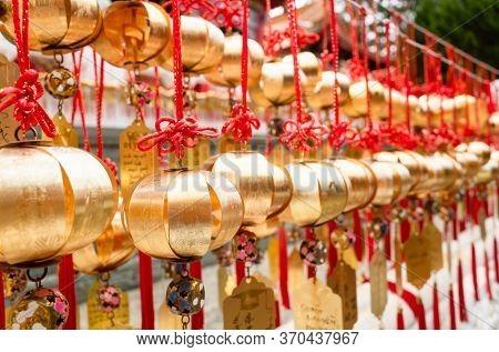 Nantou, Taiwan - May 30th, 2019: wall of wish in Wenwu Temple near Sun Moon Lake at Yuchi, Nantou, Taiwan, Asia