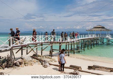 Mantanani Island, Sabah, Malaysia-circa September, 2017: A Group Of Local People Of Mantanani Island