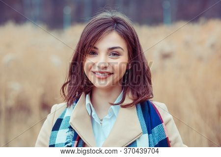 Woman Happy. Closeup Portrait Headshot Of Beautiful Smiling Toothy Girl Student Looking At You Camer