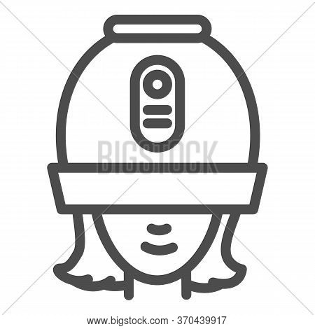 Young Woman Under Hooded Dryer Machine Line Icon, Hair Salon Concept, Girl Under Drying Hood Sign On