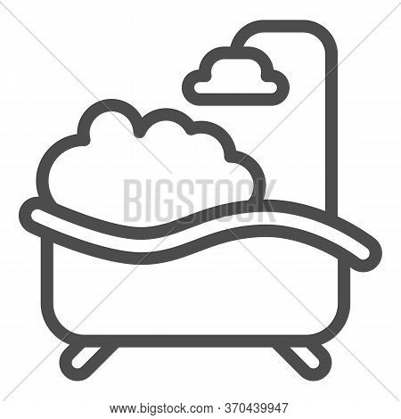 Bath With Foam Line Icon, Spa Concept, Bathtub Full Of Foam With Bubbles Sign On White Background, B