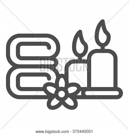 Towels With Flower And Burning Candles Line Icon, Spa Salon Concept, Massage, Wellness And Spa Sign