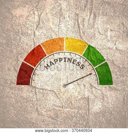 Good Mood Meter Measure Happiness Or Satisfaction Level. Color Scale With Arrow. The Measuring Devic
