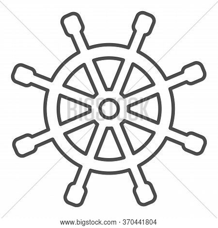 Wooden Marine Wheel Thin Line Icon, Nautical Concept, Ship Helm Sign On White Background, Shipboard