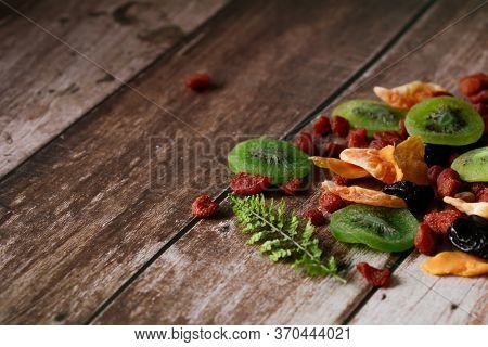 Close-up, Mixed Dried Food In A Wooden Background With Copy Space, Selective Focus