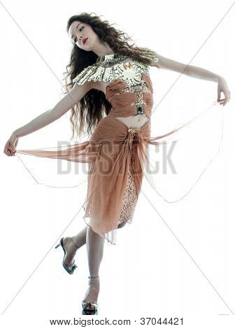 one young beautiful woman fashion model in on aura tout vu brown silk fantasy haute couture summer dress in studio white background