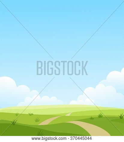 Beautiful Summer Grassy Meadow Landscape. Spring Nature Sunny Day. Bright Background With Cloudy Sky