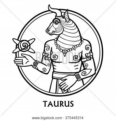 Zodiac Sign Bull. Vector Art. Black And White Zodiac Drawing Isolated On White Background.