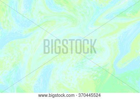 Pale Green Liquid Color Illustration. Pastel Multicolored Digital Texture. Smudged Paint Cover Templ