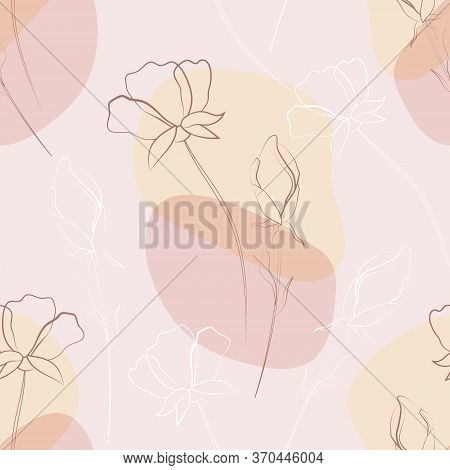Flowers And Leaves. Flower Seamless Pattern. Drawing Lines On The Background Of Watercolor Blots. Li