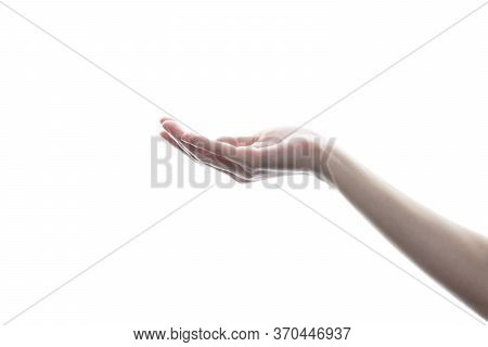 Outstretched Woman Hand, Open The Palm Of The Hand On White Isolated Background.