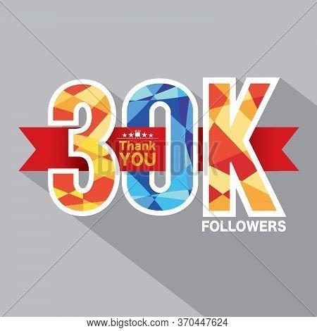 30k Followers Banner For Celebrating Followers Social Media Networks Vector Illustration. Eps 10