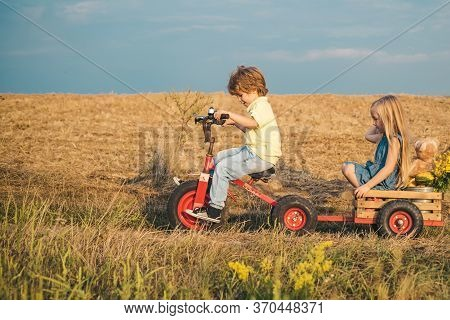Positive Children. Copy Space. Little Kid Outdoor. Happy Girl And Boy In The Field. Children Play Ou