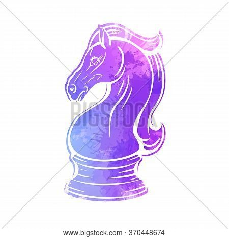 Contour Knight Chess Horse With Neon Watercolor Splashes. Proud Mustang Mascot. Symbol Of Smart Play