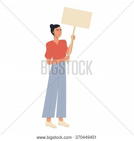 Modern Unhappy Upset Caucasian Woman Protesting Against Violence Holding Blank Placard For Text Or A