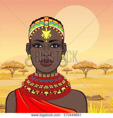 Animation Portrait Of The Beautiful African Woman In Ancient Clothes And Jewelry. Hunter, Nomad, Fai