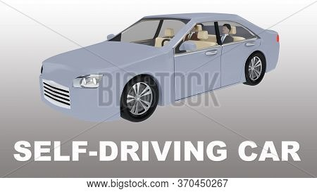 3d Illustration Of Self-driving Car Title Under An Autonomous Car With Two Passengers, Isolatet Over