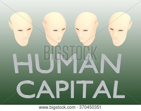 3d Illustration Of 4 Heads With Human Capital Title, Isolated Over Green Gradient