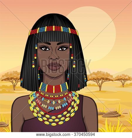 Animation Portrait Of The Beautiful African Woman In Ancient Jewelry And Afro-hair. Color Drawing. B