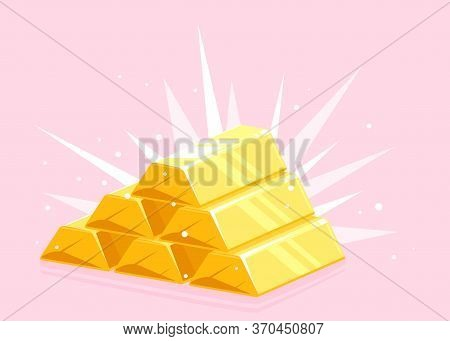 Gold Bars Stack Pyramid With Bright Lightsin Perspective View On Pink Background, Bright Golden Pyra