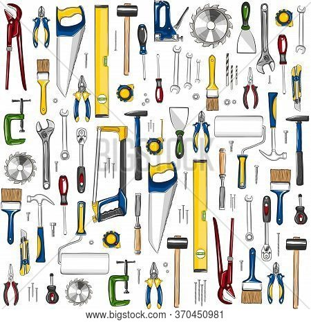 Repair Tools Seamless, Pattern In Sketch Style. Construction Workshop Equipment Background. Handwork