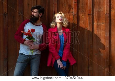 Young Fashion Couple Of Lovers At Beginning Of Love Story. Romantic Couple In Love