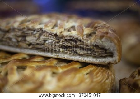 The Stuffed Pie Is Cooked In The Oven. Tasty Food Made Of Dough. Do-it-yourself Food Sale. Russian N