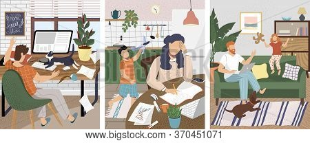 Work At Home Office Problems And Disturbance. Children And Pet Disturb Working At Home Parents. Vect