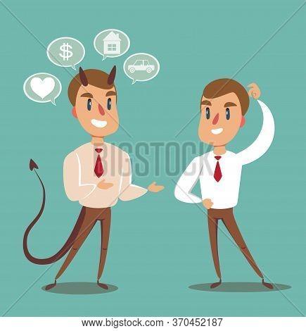 Business Concept Illustration Of A Businessman Making A Deal With Devil. Vector Flat Design Illustra
