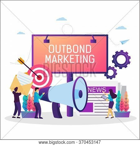 Vector Illustration Of Outbound Marketing, Offline Promotion Business Strategy. Suitable For Web Ban